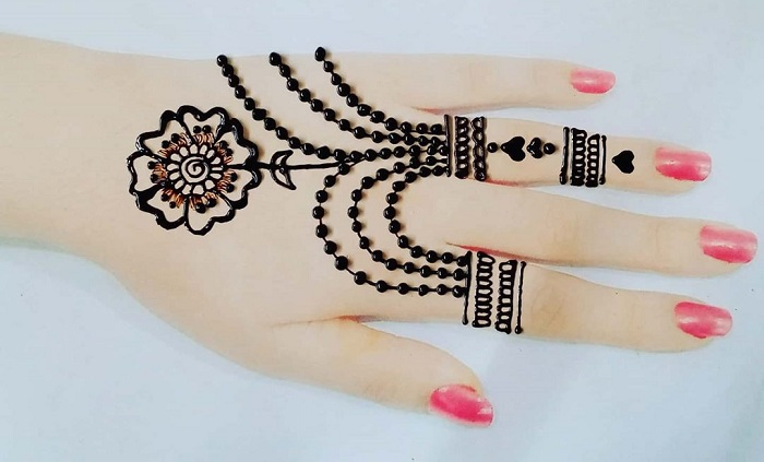 Jewellery Pattern Finger Mehndi Design
