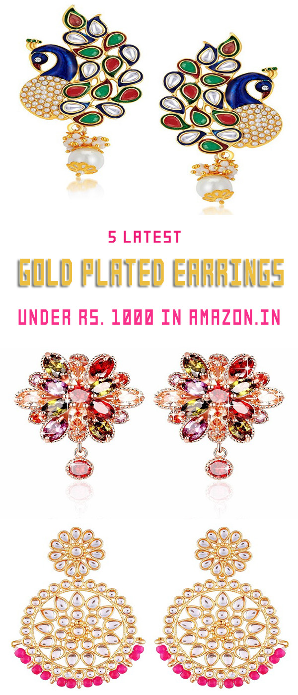 5 Latest Gold Plated Earrings Under 1000 rupees