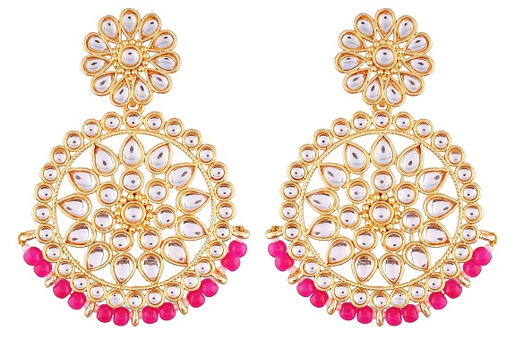 Gold Plated Chandbali Earring Design under 1000 rupees in india