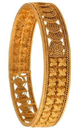 Gold Plated Spiral Designer Bangle