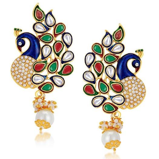 Peacock Designer Gold Plated Earring Design under 1000